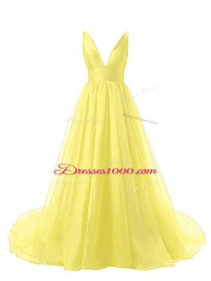 A-line Sleeveless Yellow Prom Evening Gown Brush Train Backless