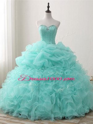 Apple Green Sweetheart Neckline Beading and Ruffles and Pick Ups 15th Birthday Dress Sleeveless Lace Up