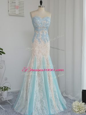 Luxurious Mermaid Prom Dresses Multi-color Sweetheart Tulle Sleeveless Floor Length Zipper