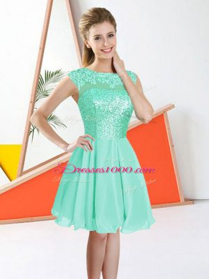 Fine Knee Length Turquoise Quinceanera Court Dresses Chiffon Sleeveless Beading and Lace
