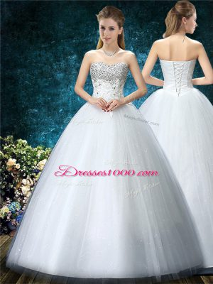 Dazzling White Sweetheart Neckline Beading and Embroidery Wedding Gown Sleeveless Lace Up