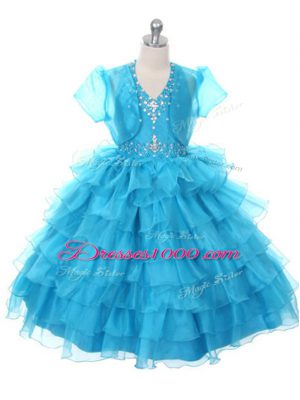 Organza Halter Top Sleeveless Lace Up Beading and Ruffled Layers and Bowknot Little Girl Pageant Gowns in Baby Blue