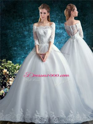 Court Train Ball Gowns Wedding Dresses White Off The Shoulder Tulle Half Sleeves Clasp Handle