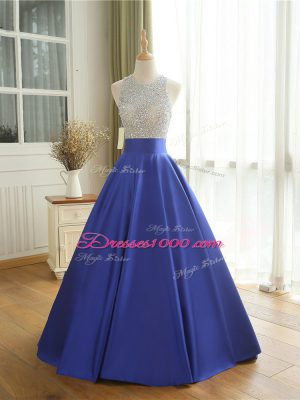 Blue A-line Beading Dress for Prom Backless Satin Sleeveless Floor Length