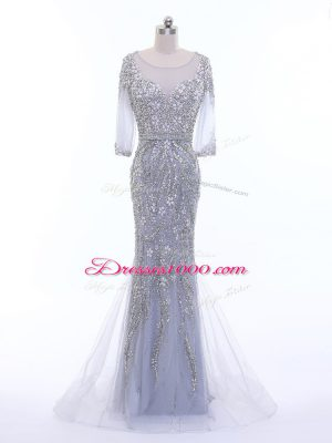 Lovely Zipper Evening Dress Silver for Prom and Party and Military Ball with Beading Brush Train