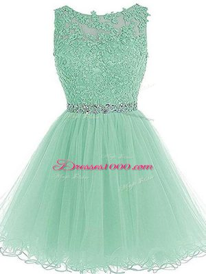 Elegant Tulle Sweetheart Sleeveless Zipper Beading and Lace and Appliques and Ruffles Homecoming Dress in Apple Green