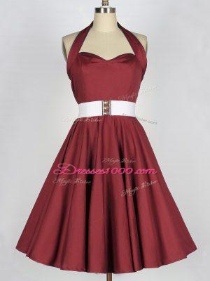 Hot Sale Sleeveless Lace Up Knee Length Belt Wedding Party Dress