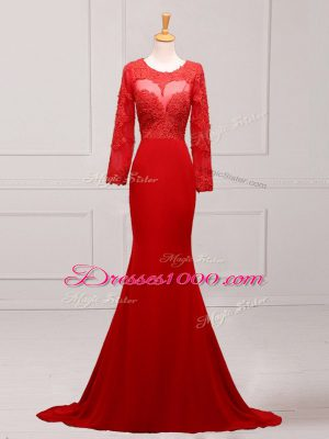 Shining Brush Train Mermaid Mother of Bride Dresses Red Scoop Chiffon Long Sleeves Zipper