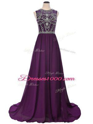 Admirable Purple Empire Beading Homecoming Dress Side Zipper Elastic Woven Satin Short Sleeves