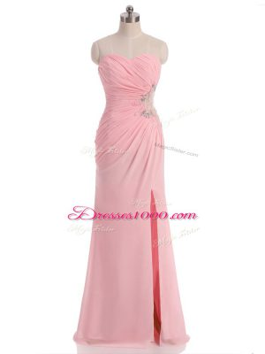 Spectacular Chiffon Sweetheart Sleeveless Side Zipper Beading and Ruching Evening Dress in Baby Pink