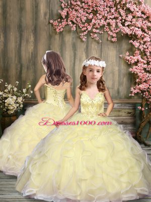 Spaghetti Straps Sleeveless Tulle Child Pageant Dress Beading and Ruffles Lace Up