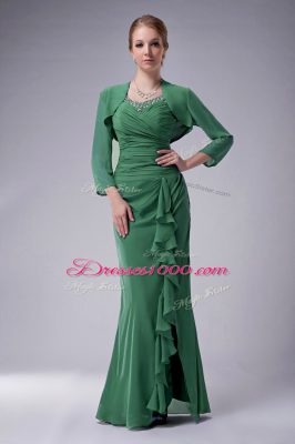 Dazzling Green Chiffon Zipper Mother of the Bride Dress Sleeveless Floor Length Beading