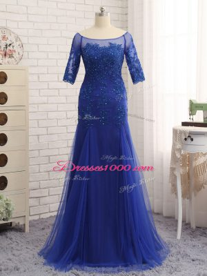 Half Sleeves Tulle Zipper Mother of Groom Dress in Royal Blue with Lace and Appliques