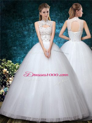 Custom Designed White Tulle Lace Up High-neck Sleeveless Floor Length Wedding Gowns Beading and Appliques and Embroidery