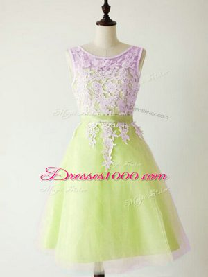 Admirable Yellow Green Bridesmaid Gown Prom and Party and Wedding Party with Lace Scoop Sleeveless Lace Up