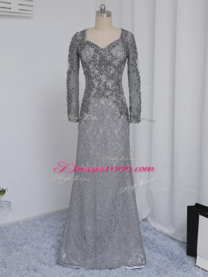 Grey Zipper Sweetheart Beading and Lace Mother of Groom Dress Lace Long Sleeves