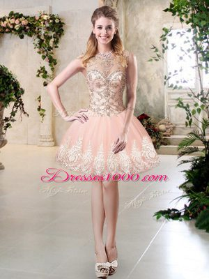 Peach A-line Scoop Sleeveless Tulle Mini Length Lace Up Beading and Lace and Appliques Homecoming Dresses