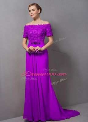 Flare Purple Short Sleeves Chiffon Sweep Train Zipper Mother Dresses for Prom and Party