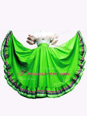 Floor Length Lace Up 15th Birthday Dress Green for Military Ball and Sweet 16 and Quinceanera with Ruffled Layers