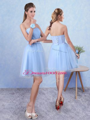 Super Knee Length Blue Bridesmaid Gown Tulle Sleeveless Ruching