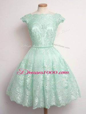 Lace Sleeveless Knee Length Bridesmaid Gown and Lace