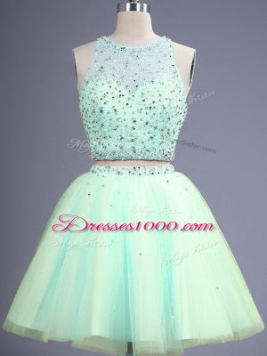 Scoop Sleeveless Tulle Bridesmaid Dresses Beading Lace Up