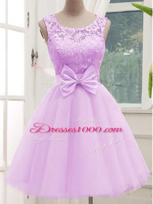Lilac Scoop Lace Up Lace and Bowknot Bridesmaid Gown Sleeveless