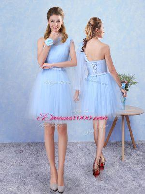 Modest Sleeveless Belt Lace Up Wedding Guest Dresses