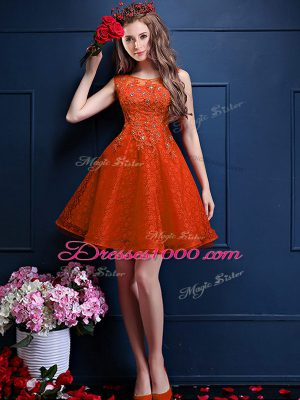 Nice Tulle Bateau Sleeveless Lace Up Beading and Lace Bridesmaid Dress in Orange Red