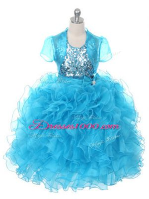 Floor Length Lace Up Little Girls Pageant Dress Wholesale Baby Blue for Wedding Party with Ruffles and Sequins and Bowknot