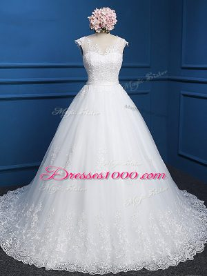Admirable Ball Gowns Sleeveless White Wedding Gown Brush Train Backless