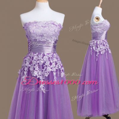 On Sale Strapless Sleeveless Tulle Bridesmaid Gown Appliques Lace Up