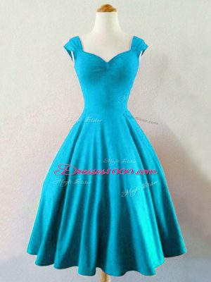 Fitting A-line Bridesmaid Dress Baby Blue Straps Taffeta Sleeveless Knee Length Lace Up