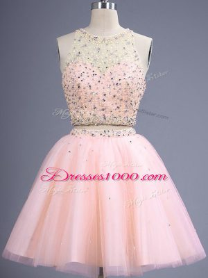 Peach Dama Dress for Quinceanera Prom and Party and Wedding Party with Beading Scoop Sleeveless Lace Up