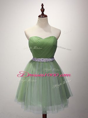 Green Wedding Guest Dresses Prom and Party and Sweet 16 with Beading and Ruching Sweetheart Sleeveless Lace Up