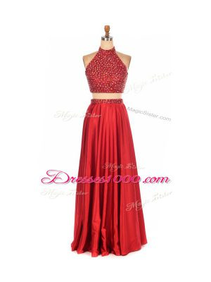 Superior Sleeveless Elastic Woven Satin Floor Length Backless Prom Dresses in Red with Beading