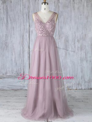 Lavender Criss Cross Bridesmaid Dress Appliques Sleeveless Floor Length