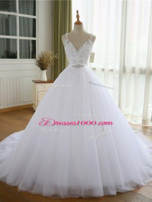White Bridal Gown Beach and Wedding Party with Beading and Lace and Appliques V-neck Sleeveless Court Train Lace Up