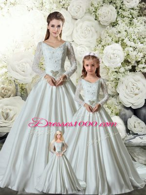 White V-neck Lace Up Lace and Belt Quinceanera Dress Chapel Train Long Sleeves