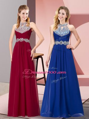 Sleeveless Chiffon Floor Length Backless in Wine Red with Beading