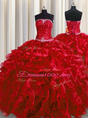 Wine Red Ball Gowns Strapless Sleeveless Organza Floor Length Lace Up Beading and Ruffles Quinceanera Dress