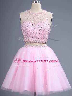 Pink Two Pieces Tulle Scoop Sleeveless Beading and Lace Knee Length Zipper Quinceanera Dama Dress