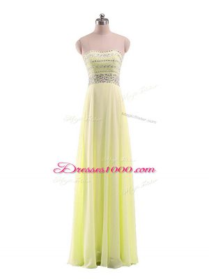 Yellow Evening Dress Prom and Military Ball with Beading Strapless Sleeveless Zipper