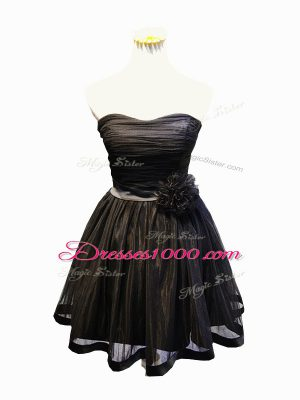 Chic Sleeveless Mini Length Ruching and Bowknot and Hand Made Flower Lace Up Prom Evening Gown with Black