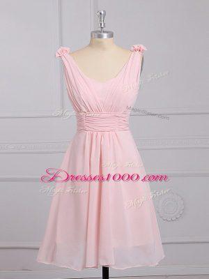 Baby Pink Lace Up Straps Hand Made Flower Dama Dress Chiffon Sleeveless