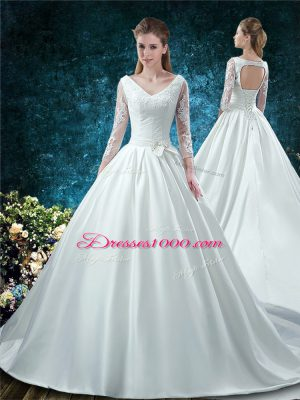 Lovely Ball Gowns 3 4 Length Sleeve White Wedding Dresses Chapel Train Lace Up