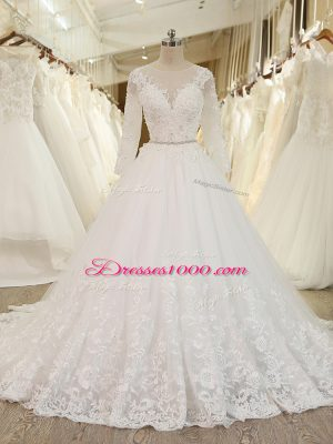 White Zipper Scoop Beading and Lace and Appliques Wedding Gowns Tulle Long Sleeves Chapel Train