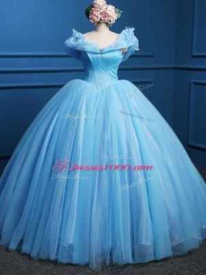 Beauteous Sleeveless Floor Length Appliques Zipper Sweet 16 Quinceanera Dress with Baby Blue