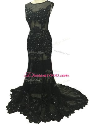 Perfect Beading and Lace and Appliques Mother of the Bride Dress Black Side Zipper Sleeveless Brush Train
