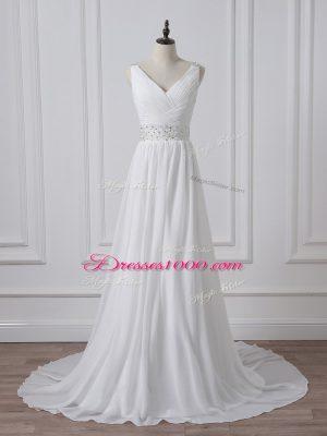 Custom Made White Empire V-neck Sleeveless Chiffon Brush Train Backless Beading and Ruching Wedding Dress